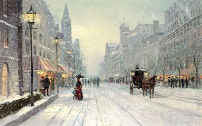 Winter's Dusk, Thomas Kinkade, painting, city, street, winter, snow, horse, город, большая, улица, проспект, зима, снег, хлопья, дома, высотки, дама, зонт, лошадь, карета, Томас Кинкейд, живопись, картина