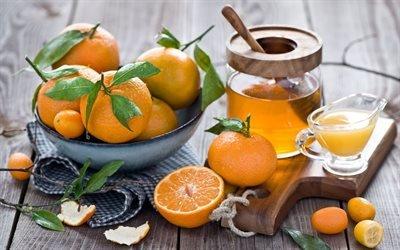 Натюрморт с мандаринами, Мандарины, Доска, Банка меда
