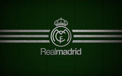 Реал Мадрид, лого, Галактикос, зеленый фон, Real Madrid, Galacticos