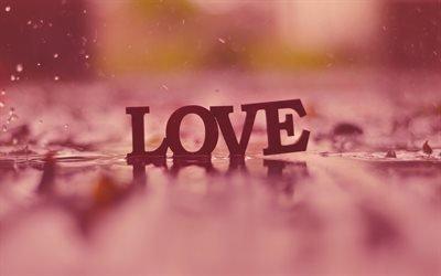 Дождь  Капли, Лужа, Буквы, Love