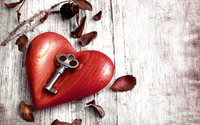 пол, доски, фигурка, сердце, дерево, ключ, ветка, листья, осень