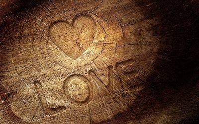 Дерево, Текстура, Любовь