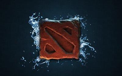 Дота 2, 4k, логотип, вода, Dota 2