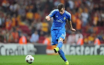 Гарет Бэйл, голубая форма, Реал Мадрид, футбольные звезды, матч, Gareth Bale