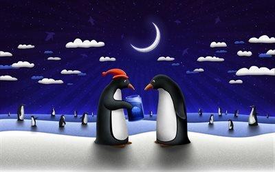 Новый год, пингвины, зима, Рождество