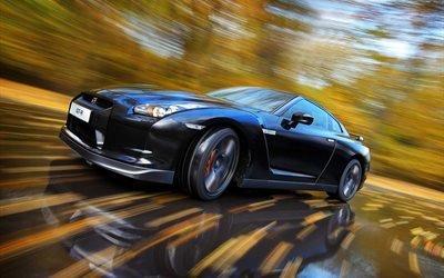 Nissan GT-R, автомобиль, машина, дорога, скорость, осень