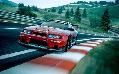 автомобиль, машина, дорога, трасса, холмы, Nissan