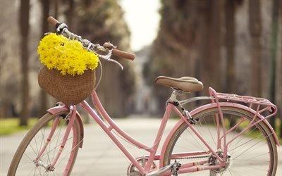 розовый велосипед, велосипед с цветами, корзина с цветами, желтые цветы