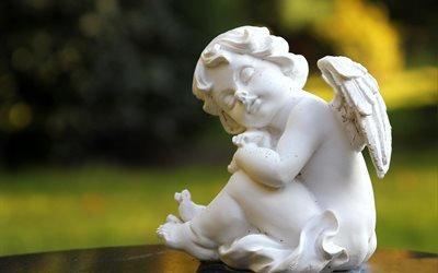 фигурка, ангел, амур, природа
