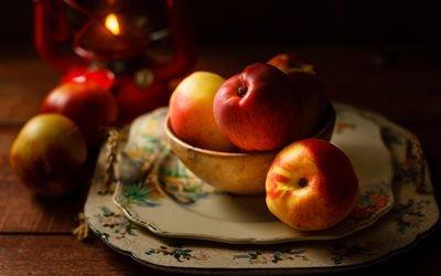 еда, фрукты, яблоки, тарелки, миска