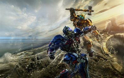 Трансформеры 5, Последний рыцарь, 2017, Transformers, The Last Knight, Оптимус Прайм, бой, bumblebee, optimus prime