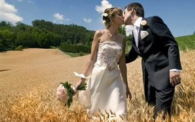 люди, жених, невеста, пара, свадьба, природа, поле, колосья, букет, цветы