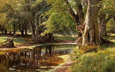 Петер Мерк Менстед, Peder Mork Monsted, датский художник, Лесной ручей, 1908