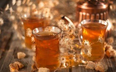доски, чашки, напиток, чай, чайник, сахар, сухоцветы
