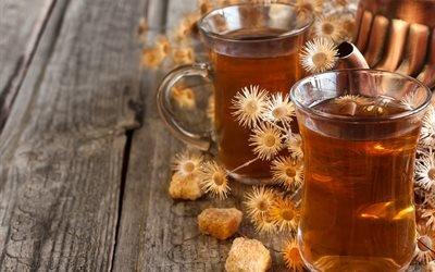 доски, чашки, пара, напиток, чай, сахар, сухоцветы