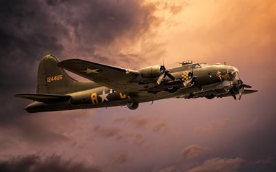 Боинг, Летающая крепость, американский тяжелый четырехмоторный бомбардировщик, Boeing, B-17, Flying Fortress