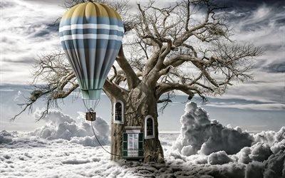 Облака, Дерево, Воздушный шар