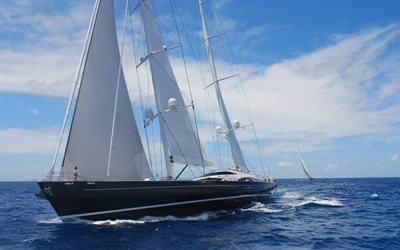 океан, яхта, большие яхты, волны, небо