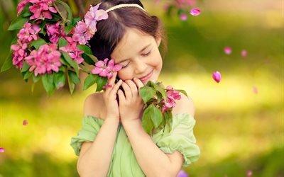 девочка, весна, ветка, цветы