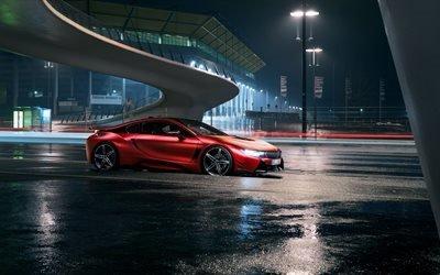 БМВ ай8, 4к, ночь, суперкары, красная бмв, BMW i8