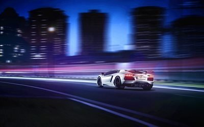 Ламборгини Авентадор, ночь, 2017, суперкары, дорожние огни, Lamborghini Aventador