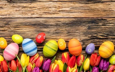 Пасха, пасхальные яйца, деревяный фон, тюльпаны, Easter