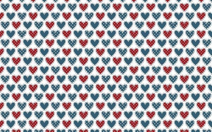 сердечки, сердце, красный, голубой, фон белый