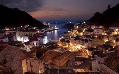 горы, Испания, дома, архитектура, Spain, город, море, вечер, городок, пейзаж, освещение, огни