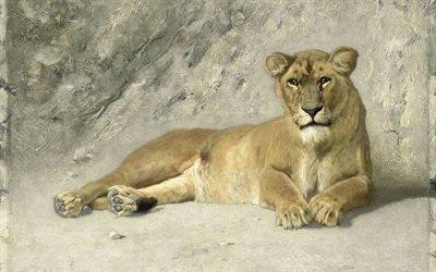 Йоханнес Корнелис ван Эссен, Johannes Cornelis van Essen, голландский художник, Отдыхающая львица, Rustende Leeuwin, 1885, Рейксмузеум, Амстердам