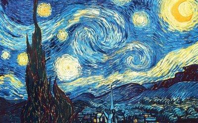 Винсент ван Гог, Vincent van Gogh, нидерландский художник-постимпрессионист, Звездная ночь, De Sterrennacht, 1889, холст, масло, Музей современного искусства, Нью-Йорк