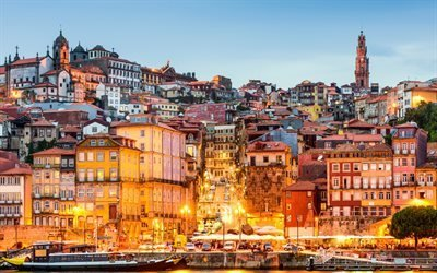 Португалия, побережье, вечерний город, дома, Порто