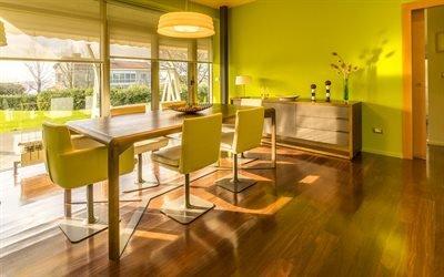 Интерьер столовой в стиле Фьюжн, Комод, Стол, Стулья