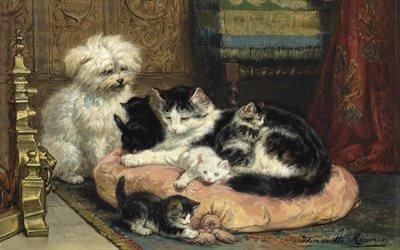 Генриетта Роннер - Книп, Henriette Ronner - Knip, бельгийская художница, Belgian painter, Мать с игривыми котятами наблюдает за терьером, A mother with her playful kittens watched over by a terrier