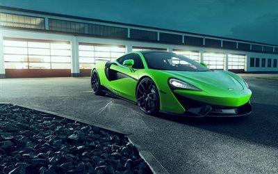 МакЛарен 570ГТ, 4к, 2017, ночь, свет фар, суперкары, Макларен, Novitec McLaren 570GT