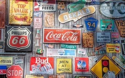 Деревянный забор, Дорожные знаки, Вывески, Уличная реклама, Текстуры