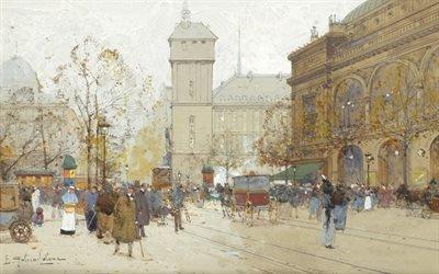 Эжен Галье-Лалу, Eugene Galien-Laloue, французский художник-импрессионист, La Place Du Chatelet, Площадь Шатле