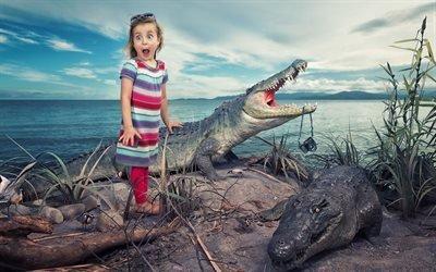 Девочка, Испуг, Удивление, Крокодил, Фотоаппарат