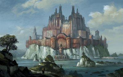Фэнтези, Остров, Красный замок на белой скале