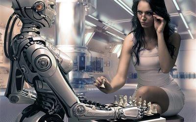 Белые начинают, Девушка, Робот, Шахматы