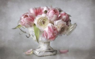 ваза, цветы, лепестки