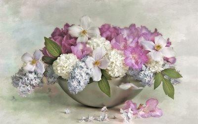 ваза, цветы, сирень, гортензия, клематис
