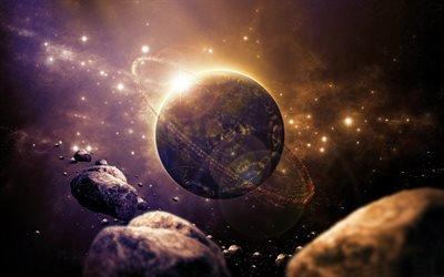 планета, астероиды, галактика, научная фантастика