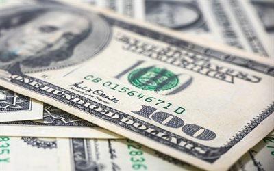 100 долларов, купюра, макро, доллары, американская валюта, банкнота, деньги