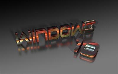 Виндовс 10, 3д логотип, креатив, заставки Виндовс, Windows 10