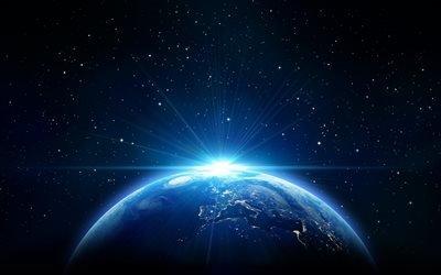 планета Земля, космос, яркий свет, вселенная