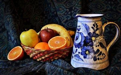 Натюрморт с фруктами, Кувшин, Корзина, Яблоки, Апельсины