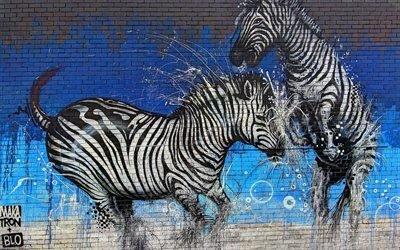 Стена, Граффити, Зебра, Текстуры