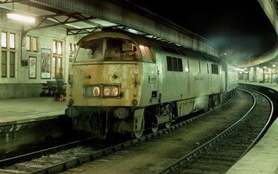 Железная дорога, Ночь, Станция, Старый локомотив
