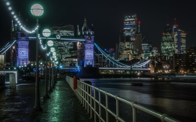 Ночь, Набережная, Темза, Тауэрский мост, Лондон