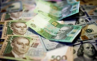 українські гроші, гривні, украинские деньги, гривны, доллары, 500 гривен, банкноты, финансы, 20 гривен